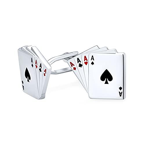Bling Jewelry Good Luck Las Vegas Winner Gambler Casino 4 of A Kind Aces Playing Cards Poker Player Cufflinks for Men Shirt Cufflinks Silver Tone Steel Hinge Bullet Back