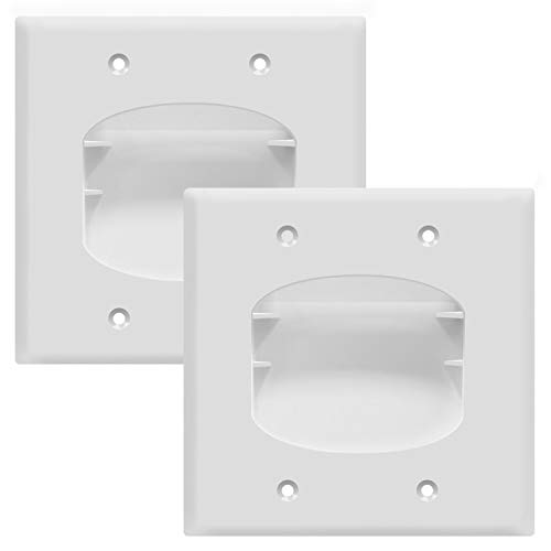 TOPGREENER Recessed Low Voltage Cable Wall Plate for Home Theaters, Size 2-Gang 4.50' x 4.50', Polycarbonate Thermoplastic, TG8882-2PCS, White (2 Pack)
