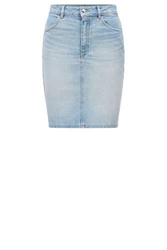 BOSS Damen Denim Skirt 1.0 Minirock aus hellblauem Stretch-Denim mit hohem Bund