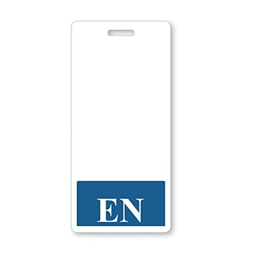 """""""EN"""" Registered Nurse Vertical Hospital ID Badge Buddy with Blue Background by Specialist ID, Sold Individually"""