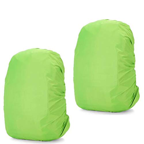 2 Packs Waterproof Backpack Rain Cover Durable Rucksack Protector Luggage Bag Slipcover for Camping Outdoor Activities Hiking Traveling (Green,S 83x63cm)