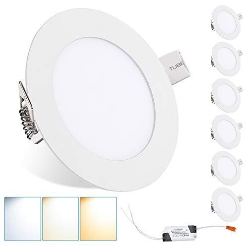 Hengda Juego de 6 lámparas LED empotrables redondas, 9 W, ultrafinas, cambio de color, IP44, 120°, para salón, dormitorio, cocina [Clase energética A+]