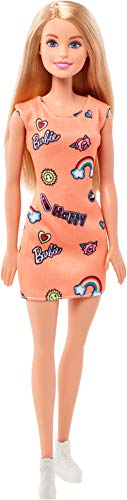 Mattel Barbie FJF14 Chic Puppe im Orangen Kleid mit Prints