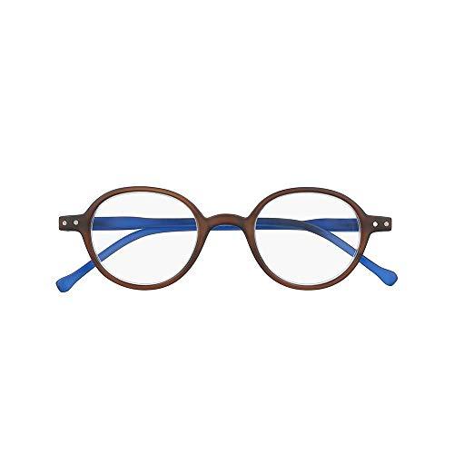 Silac - Brown & Blue 7500 - Gafas de Lectura Unisex - Redondas - Para Hombres y Mujeres - Gafas de Cerca - para Presbicia - Ligeras y Resistentes - Dioptrías +1.75 - Marrón