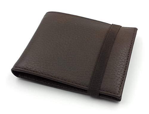 franartPiel - Cartera, billetera, tarjetero, monedero tipo americano Piel Ubrique con cierre de elástico - Alta Calidad - Marrón