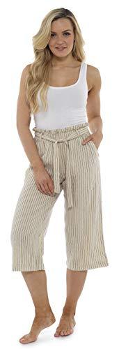 CityComfort Pantalones De Lino para El Verano | Longitud De 3/4 | Pantalones Mujer De Traje De Fiesta | Pantalones Cargo con La Cintura Alta A La Moda con Lazo Y Pliegues | Tallas Grandes Mujer