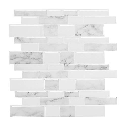 "Peel and Stick Backsplash for Kitchen, 12"" X 12"" Self Adhesive Decorative Tiles, Stick on Tiles Kitchen Backsplash (Pack of 10, Thicker Design)"