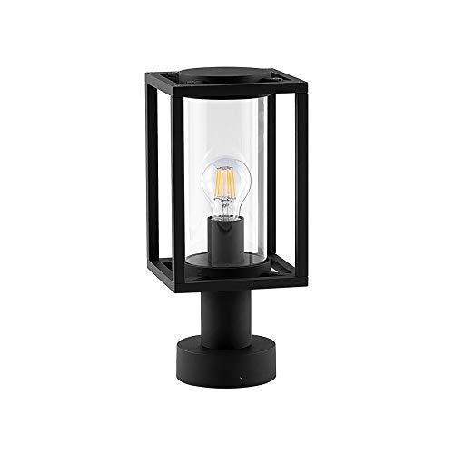 Lucande Außenleuchte \'Ferda\' dimmbar (spritzwassergeschützt) (Modern) in Schwarz aus Aluminium (1 flammig, E27, A++) - Wegeleuchte, Pollerleuchte, Wegelampe, Sockelleuchte