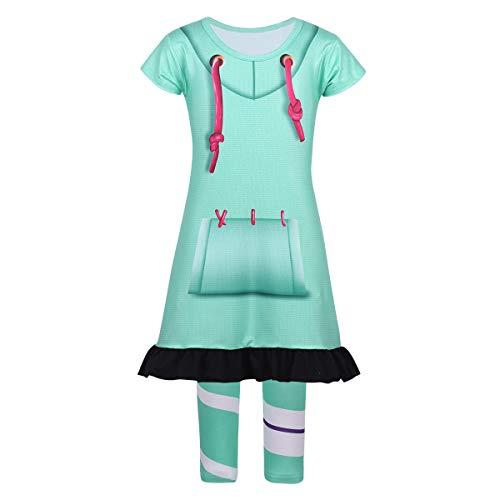 IEFIEL Disfraz Infantil de Princesa para Niña Vestido Conjunto Pijama Una Pieza de Rompe Ralph Costume para Carnaval Cosplay Halloween de 4-10 Años Mint Blue 7-8Años