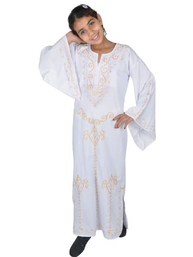 Egypt Bazar Kinder Kaftan Weiss-Gold in 70er Look (146/152)