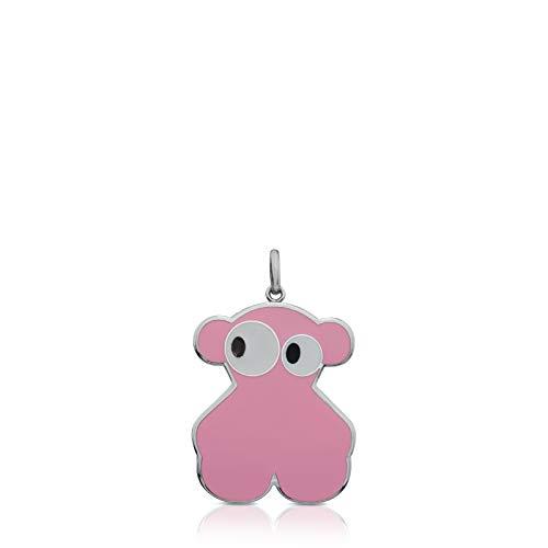TOUS colgante Face de acero con esmalte rosa - Tamaño 4 cm