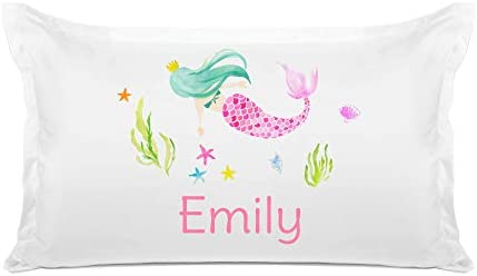 Di Lewis Kid s Personalized Pillowcase Colorful Mermaid Pillow Case Customize with Name Hypoallergenic product image