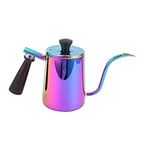 YONGLI Pote de café con Mango de Madera Caja Fuerte y Duradero Kettle Kettle Gooseneck Drip Kettle 304 Acero Inoxidable para la Oficina de la Barra de café (Color : Colorful)