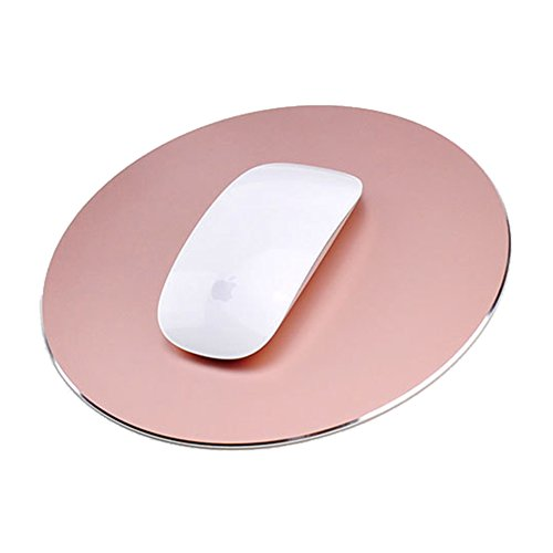 Round Mouse Pad LoiStu Round Aluminum Alloy Mouse Pad Winter and Summer Dual-Use Waterproof Antiski Matte Metal/High-Grade PU Leather Mouse Pad (Rose Gold)