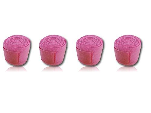 Bandagen für Pferde weiche und rutschfeste Fleecebandagen mit Klettverschluss im 4er Set (205cm x 8cm, pink)