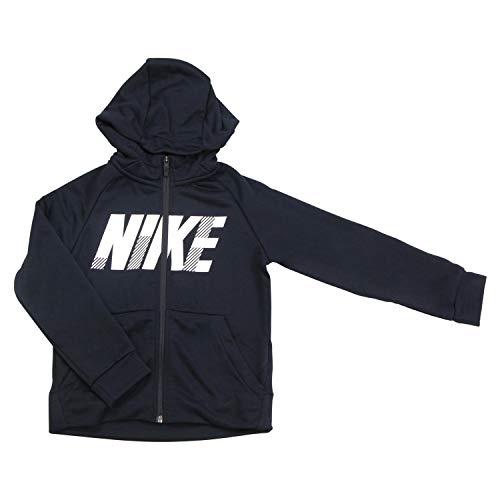 Nike Dry GFX - Felpa con Cappuccio e Zip, Unisex - Bambini, Felpa con Cappuccio, BV3789, Nero/Bianco, S