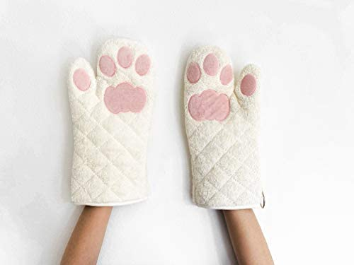 Cricket Junebug Oven Mitts Cat Paws White and Pink product image