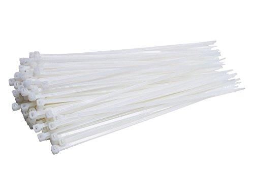 100 Stück Profi Kabelbinder Industriequalität weiß 200 mm x 3,6 mm für Industrie PC Fahrrad Nylon cable ties stark kurz weiss 18,2 kg Zugkraft von Damstone