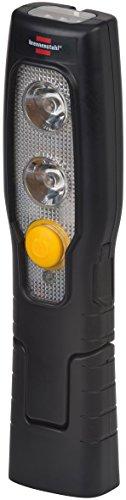 Brennenstuhl LED Taschenlampe mit Akku / Akku Handleuchte mit Schalter und Magnet zum flexiblen Einsatz (2 LEDs + 3 LEDs im Leuchtkopf) Farbe: schwarz