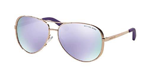 Michael Kors MK5004 CHELSEA Aviator 10034V 59M Rose Gold-Tone/Purple Mirror Sunglasses For Women +FREE Complimentary Eyewear Care Kit