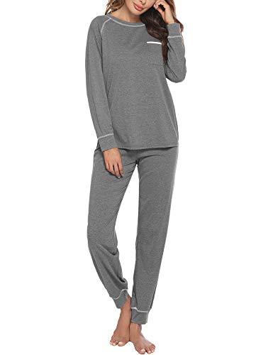 Ekouaer Pajamas Women's Long Sleeve Sleepwear Sets Cotton Loungewear Pj Set Gray