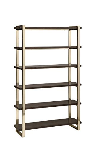 Coaster Home Furnishings Seymour Bookcase Walnut and Rose Brass 5-Tier, Gold