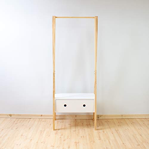 Perchero burro de madera con cajón blanco 65x45x160 cmm