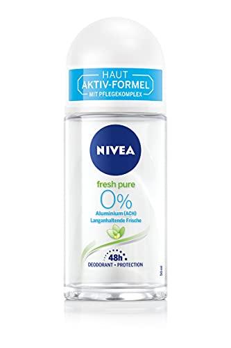 NIVEA Fresh Pure Deo Roll-On (50ml), Deo ohne Aluminium (ACH) mit Jasmin-Duft und erfrischender Formel, Deodorant mit 48h Schutz und sanfter Pflege