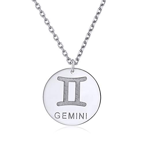Zodiac Gemini Necklace Sterling Silver Astrology Jewelry Round Coin Pendant with Rolo Chain Layering Necklaces