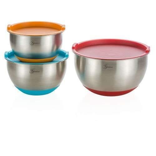 Genius Edelstahl-Schüsseln inkl. Deckel | 6 Teile | Silikon-Boden | Rühr Salat-Schüssel | NEU, Bunt, 1-3 Liter