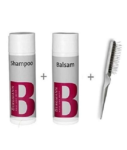 Bergmann Set de cuidado Champú + Bálsamo + Cepillo – para pelucas, sistemas de cabello, toupets Fulllacewig pelucas de pelo sintético