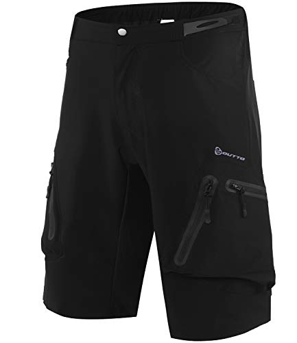 Outto Men's Cycling Shorts Breathable Quick Dry MTB Shorts (30-32,Black)