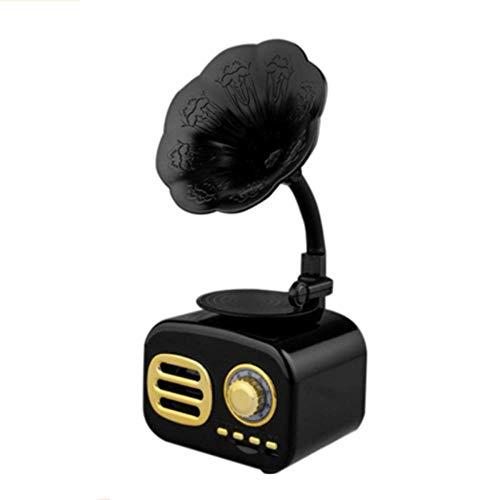 Mini altavoz portátil inalámbrico estilo clásico con forma de gramófono, diseño retro clásico Bluetooth, gramófono para oficina en casa, color negro