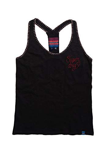 Superdry Tank dames ARTIZAN geborduurd vest zwart