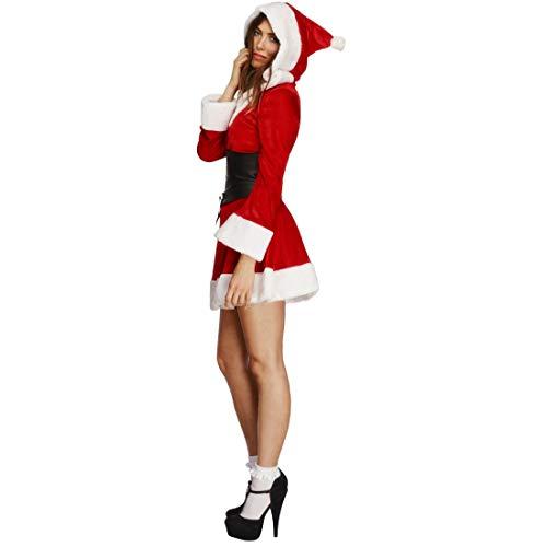 Amakando Schickes Weihnachtskleid Nikoläusin / Rot-Weiß in Größe L (42/44) / Weihnachts-Kostüm für Frauen / Perfekt geeignet zu Sexy Heiligabend & Karneval