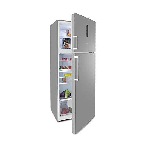 Klarstein Height Cool XXL Frigorifero e Congelatore - Combinazione Frigo/Congelatore, 425 L, Frigo 330 L, Freezer 95 L, ZeroFrost, Pannello Touch, Argento