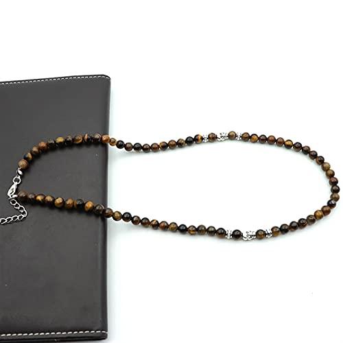 YSJJUSZ Piedras Preciosas Collar 6mm Natural Onyx Mapa Tiger Ojo Collar 19 Pulgadas Collar Largo Homme Accesorios Accesorios Regalo (Metal Color : Tiger Eye Stone)