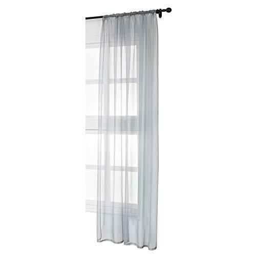 WOLTU VH5515gr, Gardinen Vorhang transparent mit Kräuselband Stores Voile für Schiene Fensterschal Wohnzimmer Schlafzimmer Landhaus 140x225 cm Grau, (1 Stück)