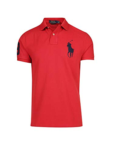 Ralph Lauren Herren Kurzarm Polo Shirt Big Pony (Rot, L)