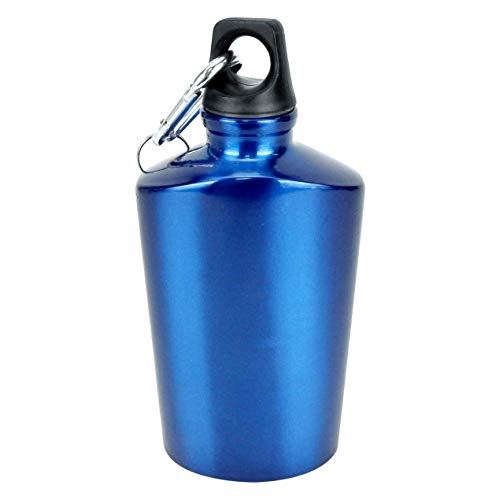 Aluminum Canteen Water Bottle for Travel Camping Hiking Outdoor Recreation with Keychain Hook Portable, Screw Cap, Carabiner, Key Ring, 20 Oz (Blue)