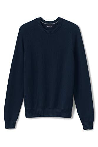 Lands' End Mens Drifter Crewneck Sweater Radiant Navy Regular Large