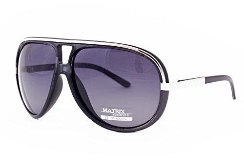 Matrix pilot estilo Retro gafas de sol polarizadas para conductores – gris lentes – Marco Negro – sin brillos
