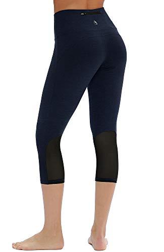 icyzone Damen Sport Mesh Leggings - 3/4 Sporthose kurz Training Tights Fitness Capri Yoga Pants (Navy, S)