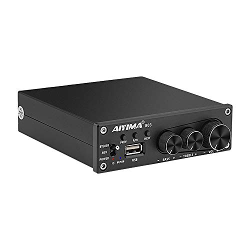 AIYIMA B03 de Potencia Amplificadores Bluetooth 5.0 160W*2 TDA7498E Amplificador de Sonido Amplificador de subwoofer estéreo Graves Agudos Ajustable con Reproductor de música USB para Altavoces