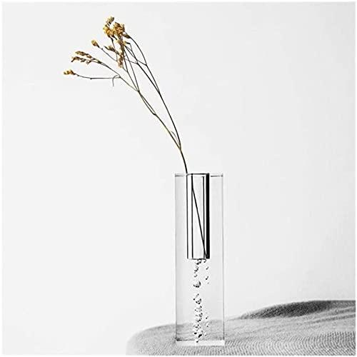 ZXYDD Jarrón de acrílico nórdico con columna cuadrada de cristal, diseño de...