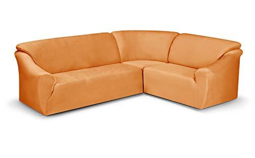 BEAUTEX Maya Samt Sofahusse für Ecksofa, Clubsessel, 1er, 2er, 3er Sitzer, elastische Stretch Husse, Farbe wählbar (Ecksofahusse Safran)