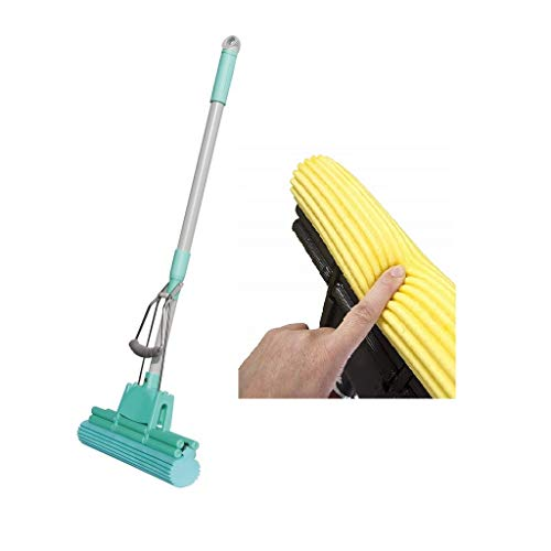 ASUVI PVA Sponge Absorber Quick Cleaning Mop with Squeezing Technology Adjustable Handle Kitchen Bathroom Cleaner, Standard Size (Colour May Vary)