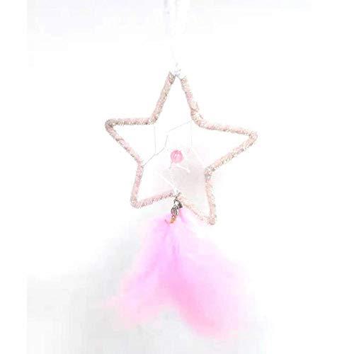 Pequeña Estrella Atrapasueños Grande Pared Rosado Cazasuenos Decoracion Hecho a Mano Atrapasueno para Dream Catcher,23x9.5cm