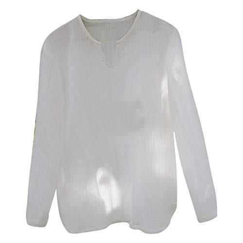 Transparent T Shirts für Herren/Skxinn Männer Sommer Casual V-Ausschnitt Langarm Loose Fashion Personality Shirt Oberteile Tops S-XXL Ausverkauf(Weiß,XX-Large)