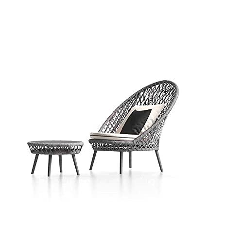Outdoor Sofa Kreative,Sessel Garten Hof Gewächshaus Balkon Freizeit,Rattan Stuhl Freizeit,Möbel Korbstuhl, Grau (Color : Chair+Table)